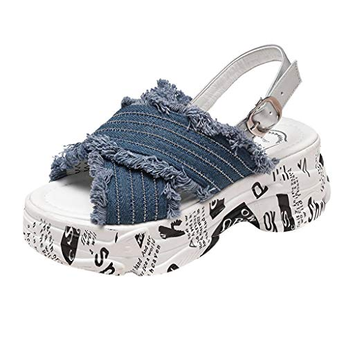 Respctful✿Women Open Toe Platform Shoes Wedge Heeled Ruched Canvas Espadrille Casual Summer Outdoor Shoes Blue