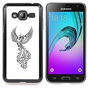 For Samsung Galaxy J3(2016) J320F J320P J320M J320Y Case , Pájaro de Fuego Decal Minimalista Blanca - Diseño Patrón Teléfono Caso Cubierta Case Bumper Duro Protección Case Cover Funda