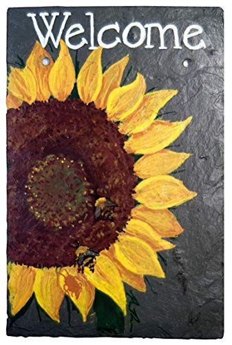 Hand Painted Sign Board - Welcome Sunflower Chalk Art Painted Sign on 12 by 8 Inch Slate Board