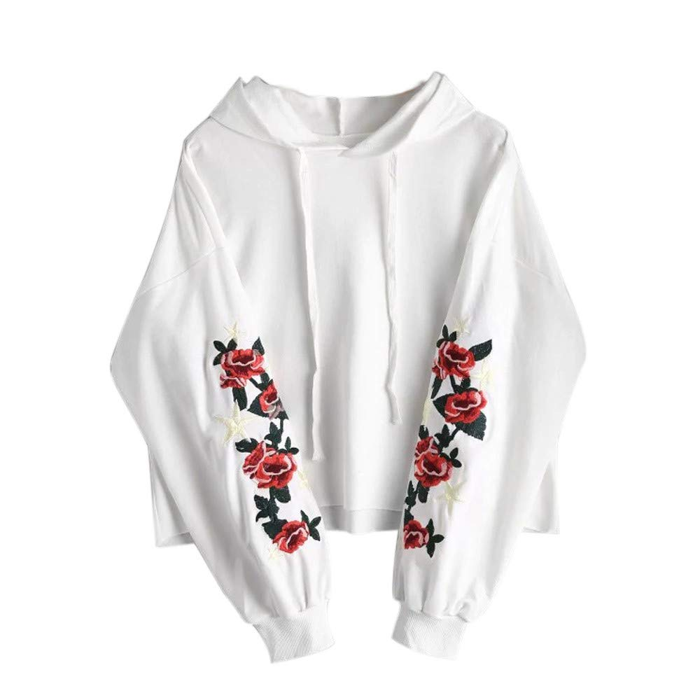 Kobay Women Sweatshirt, Ladies' Fashion Floral Front Pocket Hoodie Blouse Long Sleeve Top Shirt Clothes Yours Clothing Gifts for Womens T-Shirt Tops