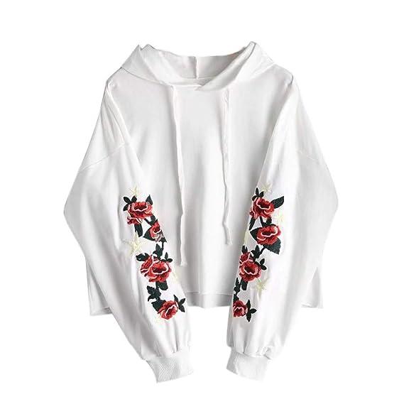beliebt kaufen 3e28c fb0cb Holeider Hoodies Damen Langarm Einfarbig Herbst Winter Rose Stickerei  Elegant Sexy Frauen Kapuzenpullover