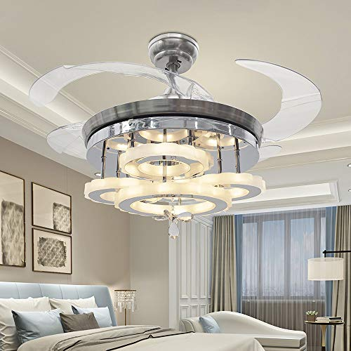 Leesville Silver Ceiling Fan Light for Home Decoration 4 Acrylic Invisble Fan Blades Chandelier with Remote Control and Led Light For Indoor Use 42 Inch, Silver