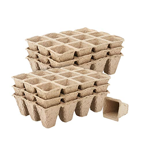 Housolution Seedlings Starter Trays, [10PCS] Biodegradable 12Grids Peat Pots for Gardening Seed Starter Tray, Eco-Friendly Plant Starting Pots Germination Container, 120 Cell Pack