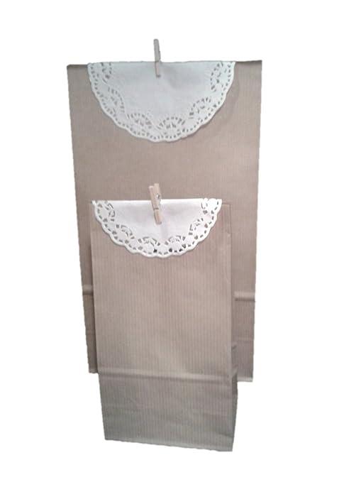 25 Bolsas de papel kraft con blonda y pinza