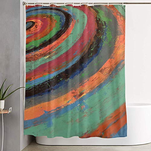 ct Spiral Color Paint Custom Waterproof Bath Shower Curtain,Polyester Fabric Bathroom Curtain Decor Set with Hooks 60
