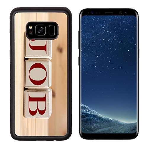 Luxlady Premium Samsung Galaxy S8 Aluminum Backplate Bumper Snap Case IMAGE ID: 37056594 Job word spelled with wooden cubes