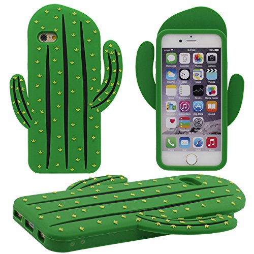 iPhone 6S Coque Protection Case, Original 3D Cactus Désign Souple Silicone Gel pour Apple iPhone 6 / 6S 4.7 inch - Vert