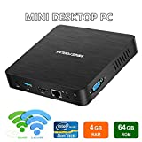Mini PC Fanless Upgraded Intel Atom X5-Z8350 with 4GB/64GB Pre-Installed Windows 10 Pro HDMI and VGA Port 4K 1000Mbps...