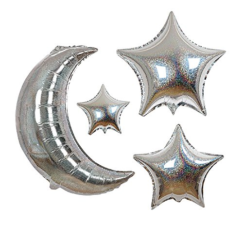 Moon Foil - Meri Meri, Moon & Stars, Foil Balloons, 4 Shapes - Pack of 6