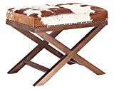 TOV Furniture The Moo X Collection Western Style Genuine Cowhide Upholstered Living Room Ottoman, Natural Pattern For Sale