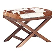 TOV Furniture The Moo X Collection Western Style Genuine Cowhide Upholstered Living Room Ottoman, Natural Pattern