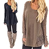 quilt fabric clearance - Clearance Women Tops LuluZanm Long Casual Sleeve Knitted Crochet Women Lace Patchwork Sexy Tops Pullover