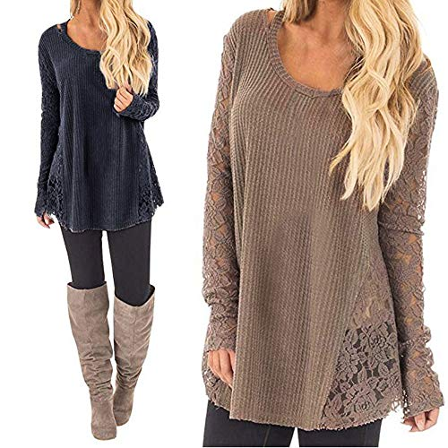 - Clearance Women Tops LuluZanm Long Casual Sleeve Knitted Crochet Women Lace Patchwork Sexy Tops Pullover