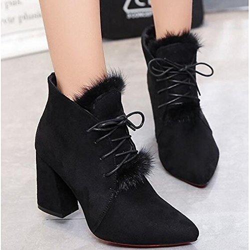HSXZ Damenschuhe Nubukleder Winter fallen Comfort Stiefelie Ferse Stiefelies Stiefelies Stiefelies Stiefel Stiefeletten für Casual Khaki Schwarz b2c266