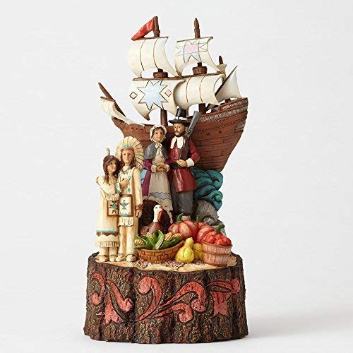 Jim Shore We are Blessed Pilgrims and Mayflower Carved by Heart Figurine 4053853
