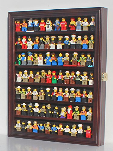 Thimble Wood (Minifigures Display Case Wall Thimble Cabinet Shadow Box, solid wood (Mahogany Finish))