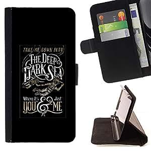Momo Phone Case / Flip Funda de Cuero Case Cover - Profundo Texto del Mar Negro Oscuro Cartel - Samsung Galaxy S5 Mini, SM-G800