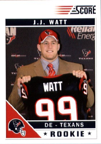2011 Score Football Card # 340 J.J. Watt RC - Houston Texans (RC - Rookie Card) NFL Trading Card In a Protective Screwdown - Cards 2011 Football