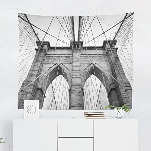 Brooklyn Bridge Tapestry - Architecture New York Manhattan Wall Tapestries Hanging Décor Bedroom Dorm College Living Room Home Art Print Decoration Decorative - Printed in the USA - Small Medium Large ()