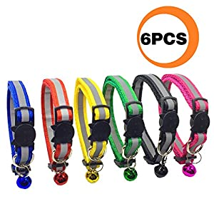 PACCOMFET FUNPET 6 Pcs Breakaway Cat Collar Reflective Nylon Strip Bell, Safe Durable 23