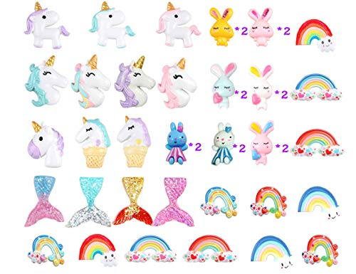 Mlambor 40pcs Flatback Slime Charms Beads Supplies Assorted Unicorn Mermaid Tail Rainbow Animals Rabbit Resin Buttons for DIY Craft Scrapbooking Ornament,Phonecase Hair Clip Jewelry Accessory -