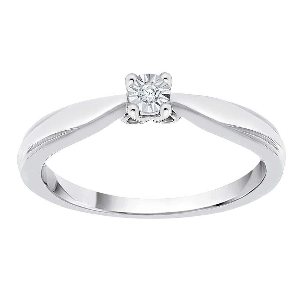 Diamond Accent Promise Ring in Sterling Silver (I-Color, SI3-I1 Clarity) (Size-7.5)