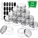 Pangda 12 Pack Empty Clear Plastic Slime Storage Favor Jars Wide-Mouth Plastic Containers with Silver Metal Lids and Labels Pens for Beauty Products, DIY Slime Making or Others (1 Oz)