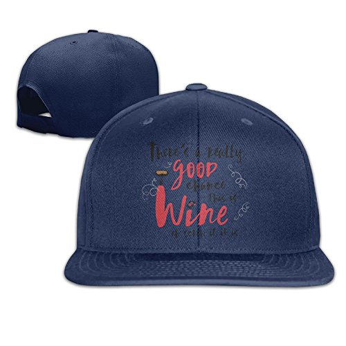 (Yishuo Men's Real Good Chance This Is Wine, Mug! Cool Football Navy Cap Hat Adjustable Snapback)