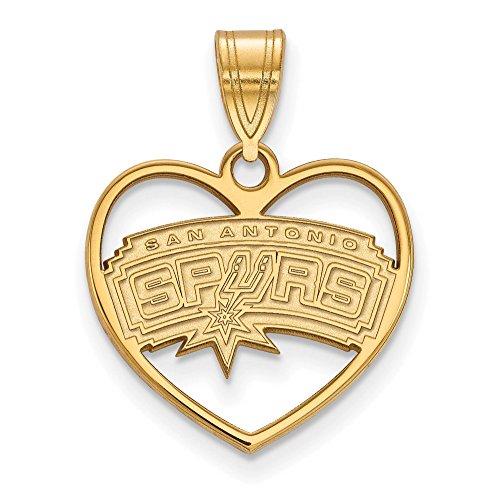 925 Sterling Silver Gold-tone Laser-cut LogoArt NBA San Antonio Spurs Logo in Heart Charm Pendant