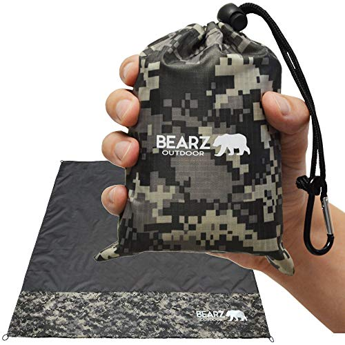 BEARZ Outdoor Beach Blanket/Compact Pocket Blanket 55″x60″ - Waterproof Picnic Blanket, Lightweight Camping Tarp, Festival Gear, Sand Proof Mat for Travel, Hiking, Sports - Packable w/Bag (Camo)