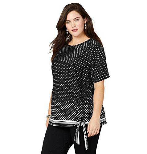 (Avenue Women's Dot Stripe Side Tie Top, 18/20 Black White)