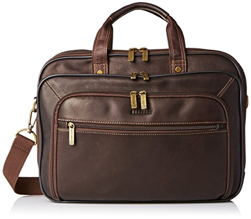 "Heritage Travelware Colombian Leather Dual Compartment Top Zip 15.6"" Laptop Portfolio, Brown"