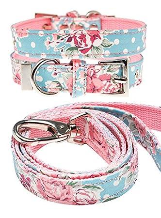 UrbanPup Pull pour chien Rose Classique Motif floral Tissu floral ensemble collier et laisse