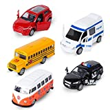 Toys : KIDAMI Die-cast Metal Toy Cars Set of 5, Openable Doors, Pull Back Car, Gift Pack for Kids (Official Car)
