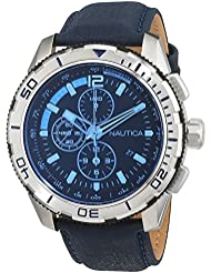 Nautica NAI19518G 48mm Stainless Steel Case Blue Calfskin Mineral Mens Watch