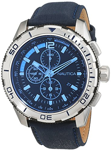 Nautica NAI19518G 48mm Stainless Steel Case Blue Calfskin Mineral Men's Watch