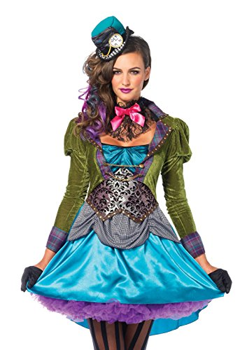 (Leg Avenue Women's 3  Piece Deluxe Mad Hatter Costume, Multi,)