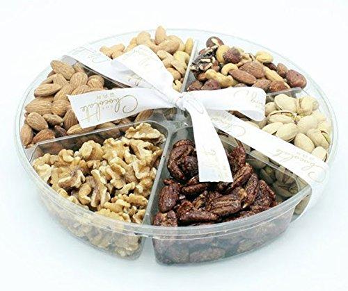 The Chocolate Bar Freshly Roasted Holiday Nuts Gift Basket, Kosher Nut Gift Tray 6-section Medium Gift Platter