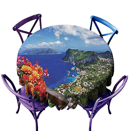 Island Circular Table Cover Scenic Capri Island Printed Round Tablecloth Italy Mountain Houses Flowers View from Balcony Landmark Blue Green Orange Diameter 50