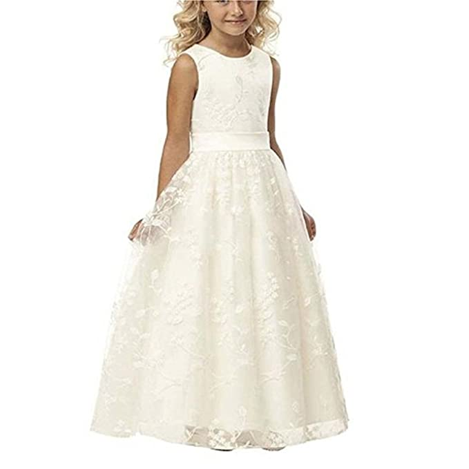 5015023d7c4 luolandi Line Wedding Pageant Lace Flower Girl Dress with Belt 2-14 Year Old  US2
