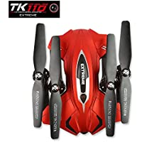 LeaningTech TK110HW Foldable 2.4G 4CH 6Axis Gyro Headless Altitude Hold FPV Wifi RC Quadcopter Drone With 0.3MP HD Camera Live Video, 360 Degrees Rotation, 1000mAh Battery, Flight Plan Drawing-Red