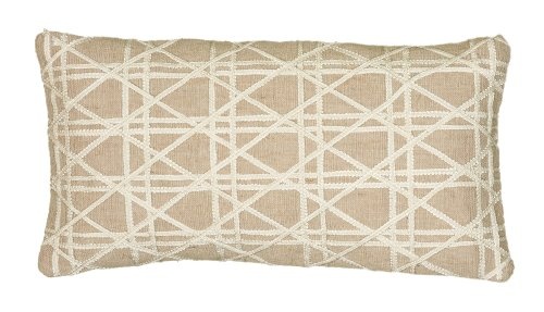 Rizzy Home Pillow Cover With Hidden Zipper In Natural And Iv