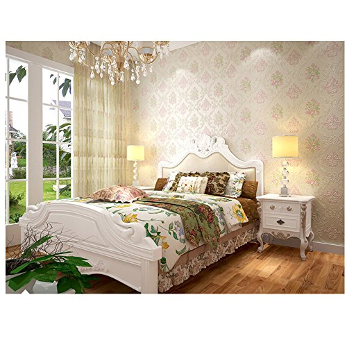 Full Vintage Wallpaper Border (Wallpaper 3D Velvet Embossed Floral Textured Stick and Peel Unpasted Home Décor 10M (Shallow cream-colored))