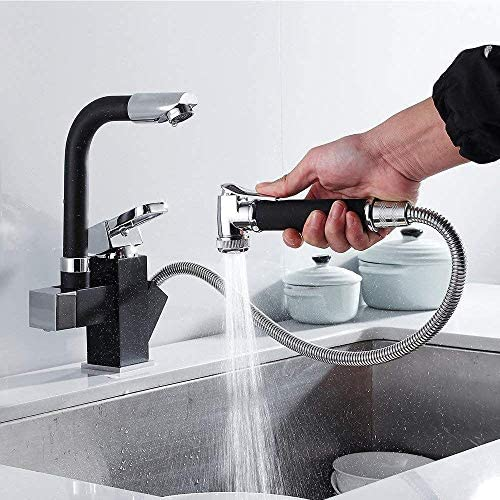 WCY Schwarz mit ausziehbarer Bidet Dusche Messinghahn Küchenarmatur Pull-Out Handbrause Spülbecken Waschbecken Mischbatterie yqaae