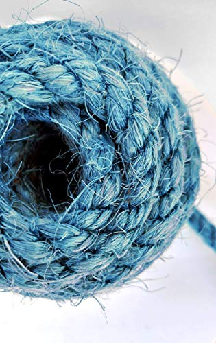 Blue Sisal Rope, Dyed Alpine Blue Color: 1/4