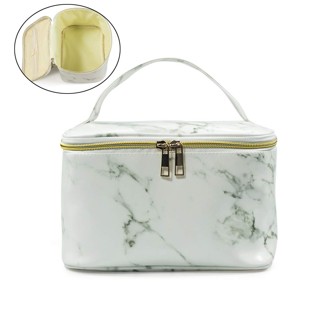 Marble Makeup Bag,Travel Large Toiletry Bag for Women Waterproof PU Cosmetic Pouch with Mesh Brush Organizer Handle Double Gold Zipper Storage Case for Girls,White