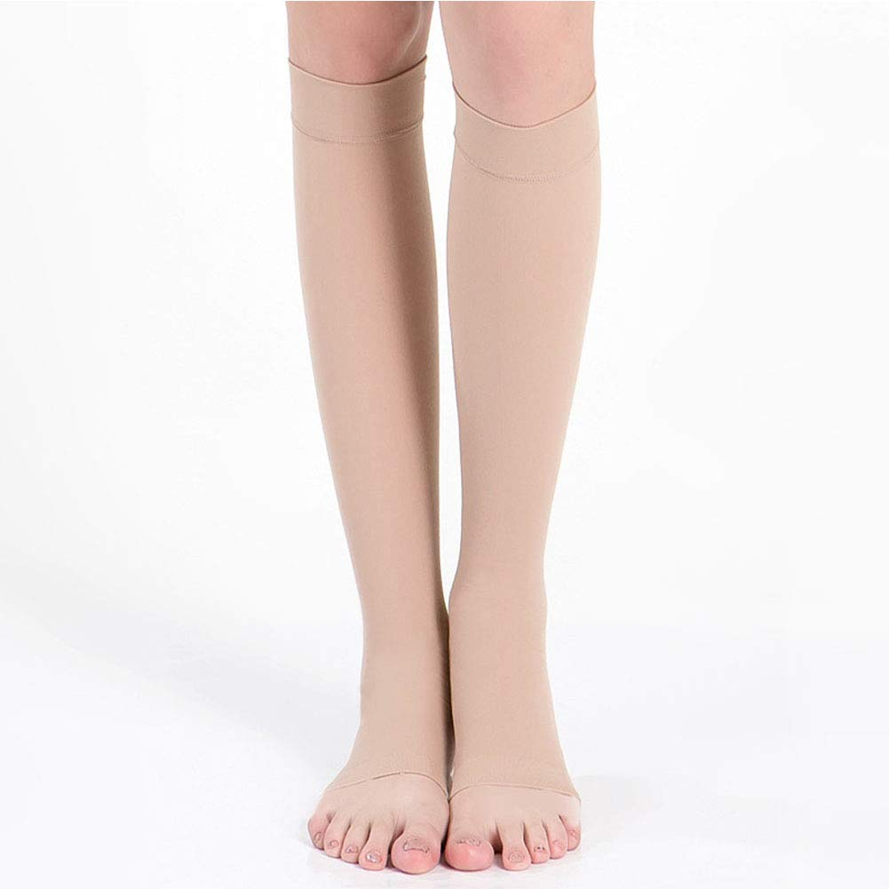 Kingkun Open Toe Compression Socks Calf Sleeves Knee High Stocking Graduated Sports Running Recovery Shin Splints Varicose Veins Argyle Skin Tones