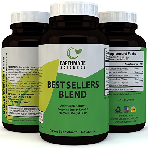 Best Sellers Blend Weight Loss Pills with Garcinia Cambogia Green Coffee Bean and Raspberry Ketones Extract – Natural Fat Burner Supplement Boost Metabolism Suppress Appetite – Earthmade Sciences