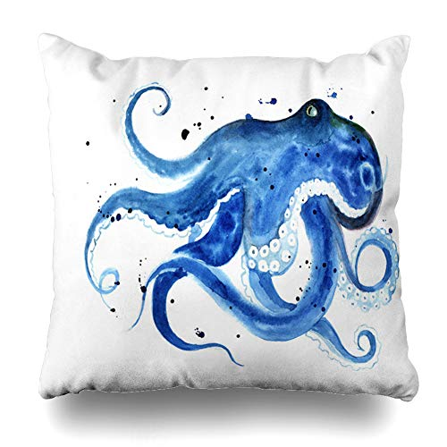 (Ahawoso Throw Pillow Cover Tee Ink Blue Octopus Watercolor Sketch Graphic Cyclopedia Book Life Ocean Water Design Home Decor Cushion Case Square Size 16 x 16 Inches Zippered Pillowcase)