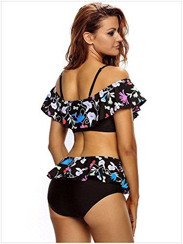 Minetom Bañador De Dos Piezas Mujer Bikini Top Shorts Elegante Cómodo Beach Swimwear Hoja De Loto Floral Impreso Negro
